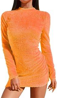 Fluorescence Clubwear Mini Dress, Malbaba Llong Sleeve Mock Neck Velvet Bodycon Dress