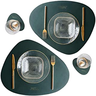 Leather Placemats and Coasters Set of 2, Round Table Coffee Mat Waterproof Greaseproof Heat-Resistant Washable PU Leather ...