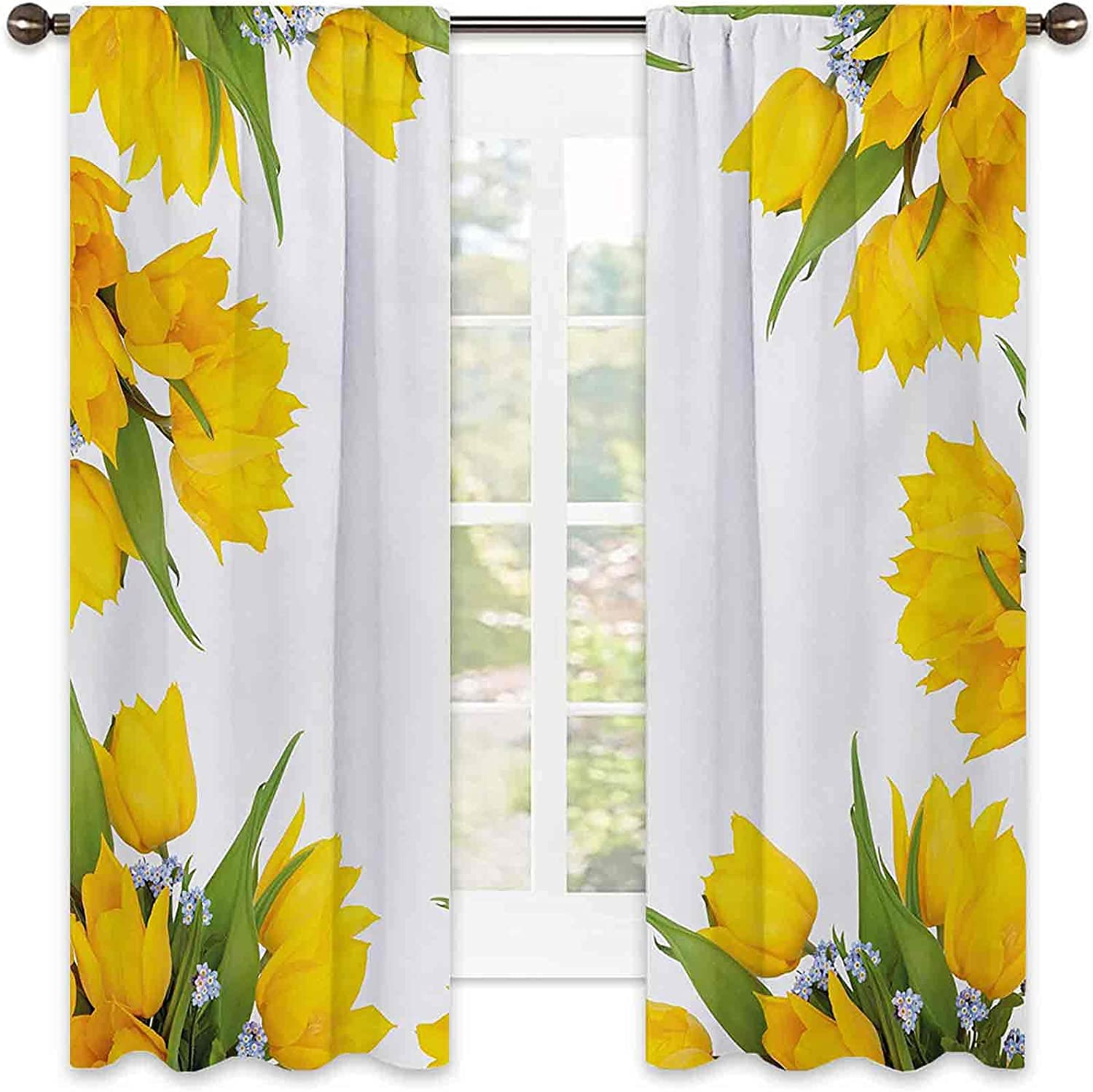Our shop OFFers the best service Yellow Flower Max 54% OFF 90% Blackout Curtains Abstract Frame Tulip