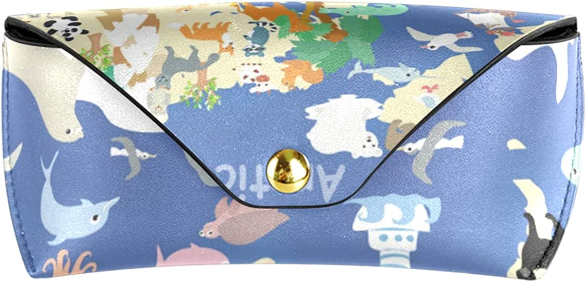 Office World Animals Kids Map Portable PU Leather Multiuse Goggles Bag Sunglasses Case Eyeglasses Pouch