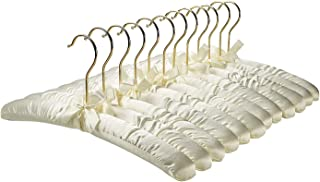 FloridaBrands Anti Slip Satin Padded Hangers Ivory Soft Fabric with Gold Hook - Heavy Duty for Women's Clothes, Coat, Blouse, Sweaters, Dresses, Clothing - Set of 12