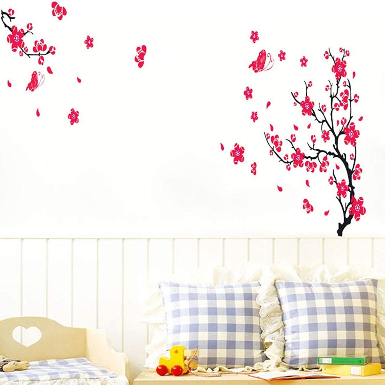 Quaanti Cherry Blossom Flower Tree Branch Wall Decals Self - Adhesive Floral Wall Sticker Vinyl Wall Art Kids Rooms Teen Girls Boys Wallpaper Wall Stickers Living Room Bedroom Decor (Multicolor)