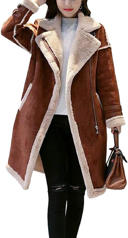 Xswsy XGCA Women's Faux Lambs Woolen Patchwork Coat Faux Suede Jackets