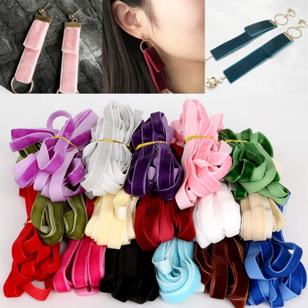 Beyonday 5 yardas DIY material pendiente hecho a mano tela de costura suministros para el pelo regalo lazos cinta de terciopelo beige