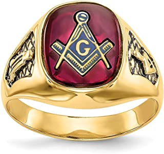 Roy Rose Jewelry 14K Yellow Gold Men's Red Synthetic Ruby Closed Back Masonic Ring, Size - 10