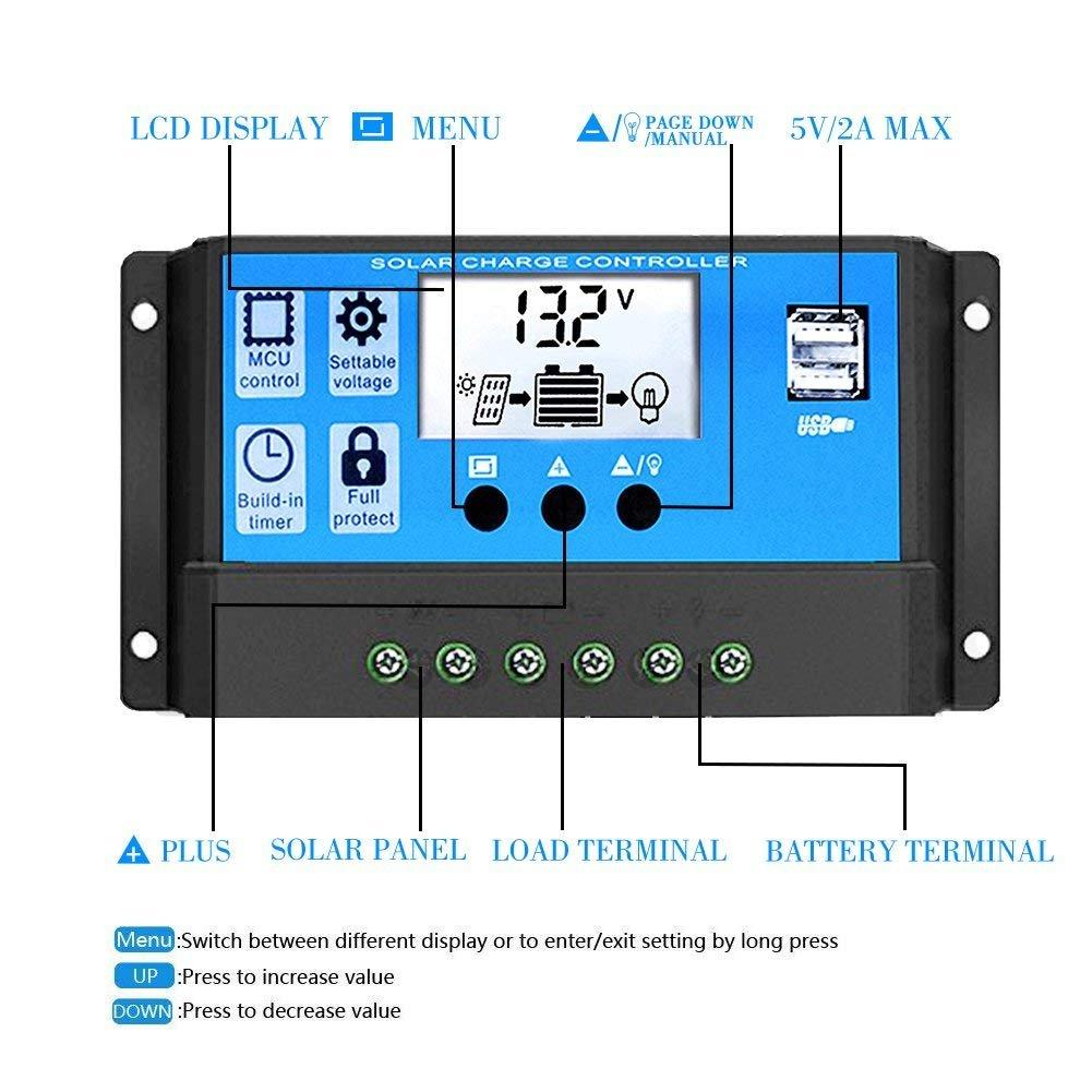 Y&H 10A 12V 24V Automatischer Solar-Laderegler PWM LCD Dual USB 5V ...