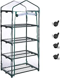 Superday Mini Greenhouse 4 Tier Portable Garden Green House Shelves for Outdoor Indoor w/Cover Wheel and Roll-Up Zipper Door Grow Seeds,Seedlings, Tend Potted Plants