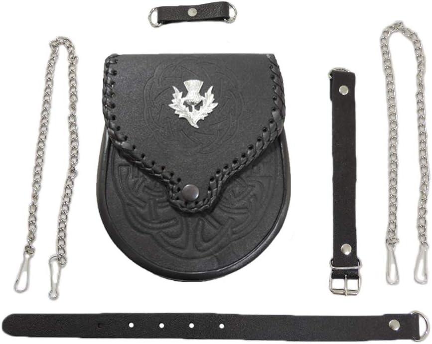 Genuine Leather Thistle Embossed Scottish Sporran w/Belt