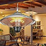 QHW Calefactor de terraza, Calefactor Radiante infrarrojo de Techo, Tubo Calefactor de Fibra de Carbono, iluminación LED, 1200/2200 W con Mando a Distancia (Interior y Exterior)