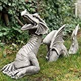 LIEIKIC Dragon Gothic Garden Decor Statue, The Dragon of Falkenberg Castle Moat Lawn Statue, Yard Art Sculptures, Large Dragon Figurines and Statues, Outdoor Indoor Decorations (B, 20x6x18cm)