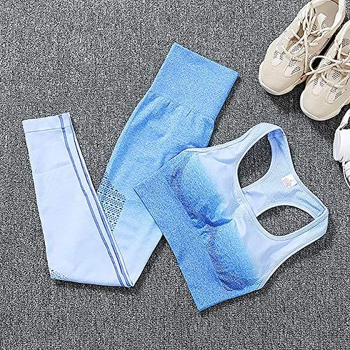 YEESEU Set de Gimnasio sin Fisuras Mujeres 2 Piezas Set de Yoga Sport Fitness Ropa Alta Cintura Leggings y Sujetador Entrenamiento Sport Traje Medias (Color : Blue Set, Size : L)