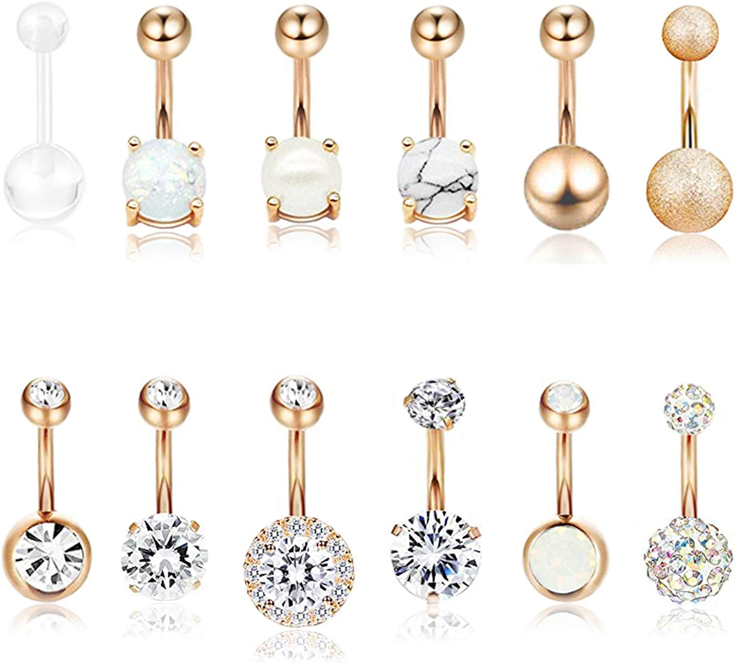 Masedy 12Pcs Belly Button Rings for Women Girls Surgical Steel Curved Navel Barbell Rings Body Piercing Jewelry