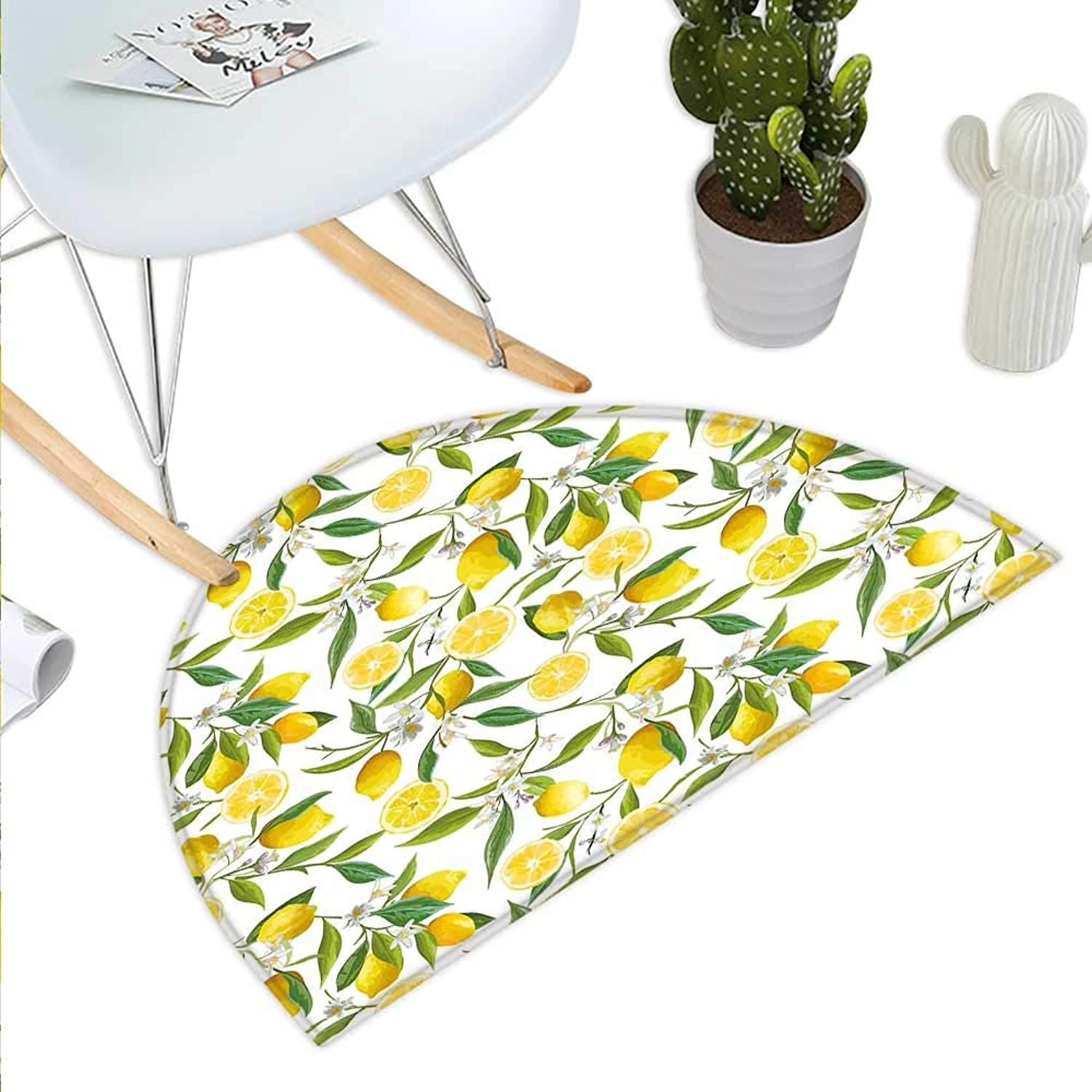 Nature Semicircle Doormat Exotic Lemon Tree Branches Yummy Delicious Kitchen Gardening Design Halfmoon doormats H 35.4  xD 53.1  Fern Green Yellow White