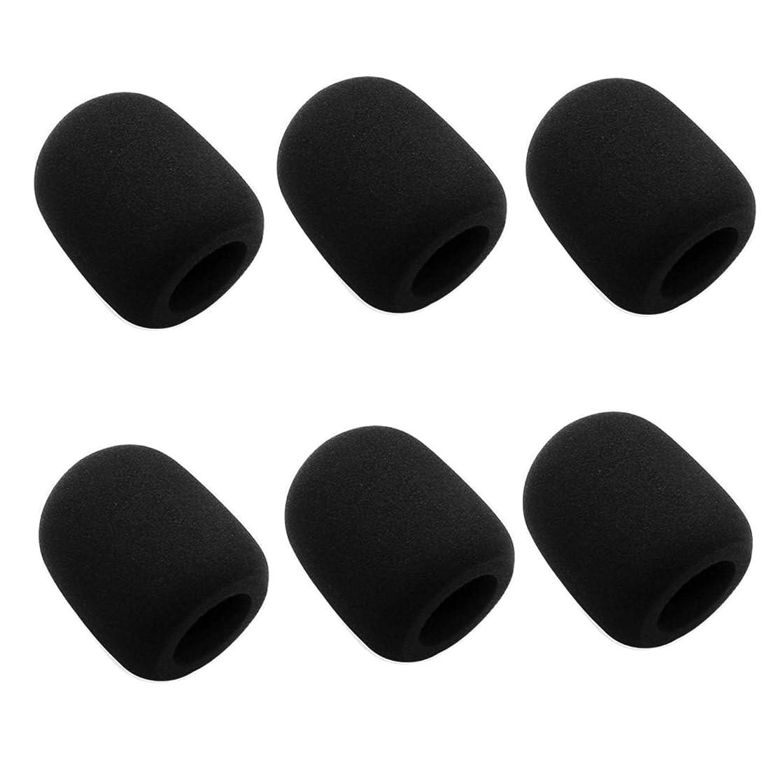 Mic Foam Cover,6 Pack Thicken Handheld Microphone Foam Windscreen, Black
