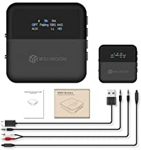 Wsiiroon Bluetooth 5.0 Transmitter Receiver, 2019 Upgraded 2-in-1 Wireless Low Latency Bluetooth Audio with Display Screen, 3.5mm & Optical Adapter for TV/Home/Car Stereo System