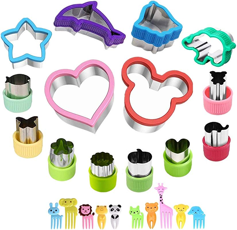 Heart Cookie Cutter For Kids Mickey Mouse Sandwich Cutters Mini Pie Cookie Stamps Mold 14 Pcs Elephant Star Bear Vegetable Fruit Cutter Set With 10 Pcs Animal Food Picks Fruit Forks