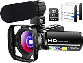 【Full Upgrade】 Besungo Ultra HD Video Camera Camcorder with Powerful Microphone 1080P Vlogging Camera YouTube Digital Recorder Camera,Lens Hood, Battery Charger