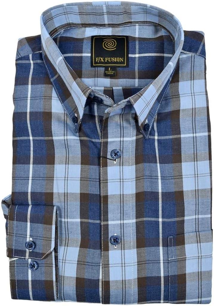 F/X Fusion Denim Plaid Long Sleeve Tall Size Sport Shirt