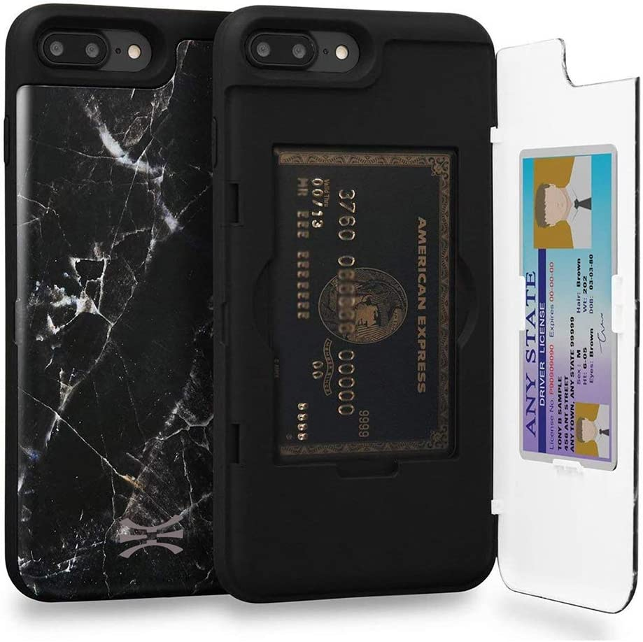 TORU CX PRO Compatible with iPhone 8 Plus/iPhone 7 Plus Wallet Case - Protective Stone Pattern Dual Layer with Hidden Card Holder, ID Slot Hard Cover & Mirror - Black Marble