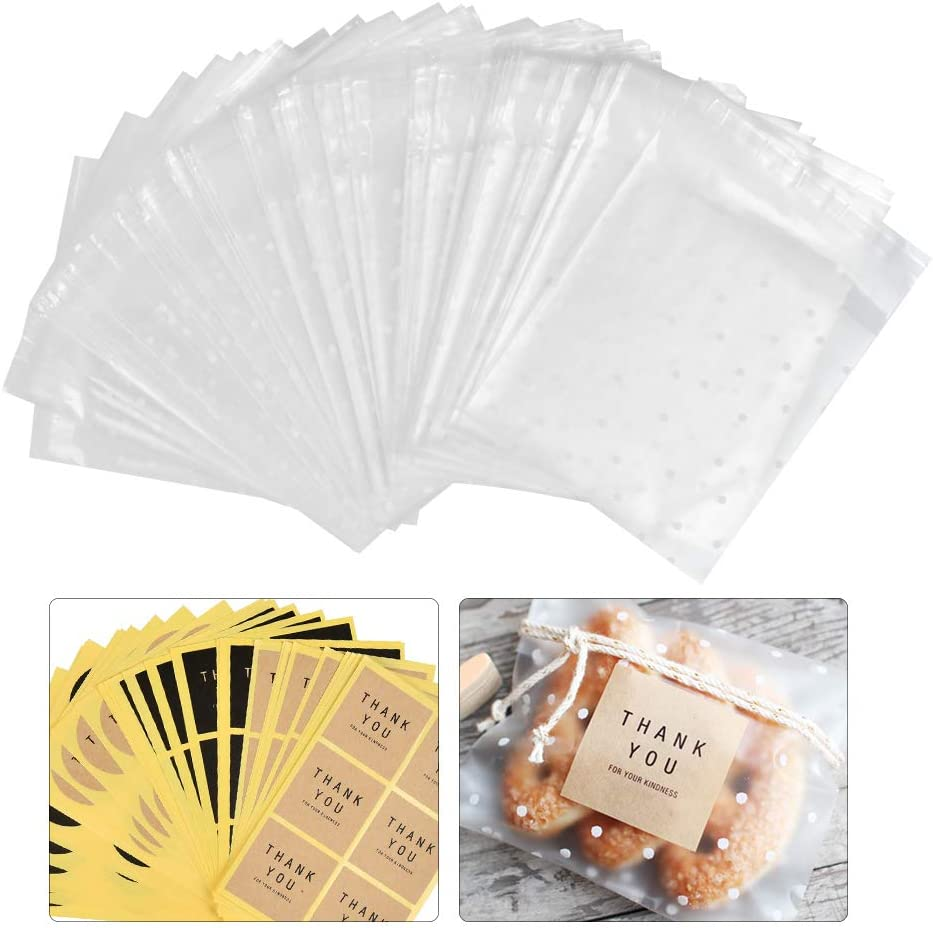 OFNMY 200pcs Popular product Frosted White Dots Treat Cellophane Factory outlet Adhesive B Self