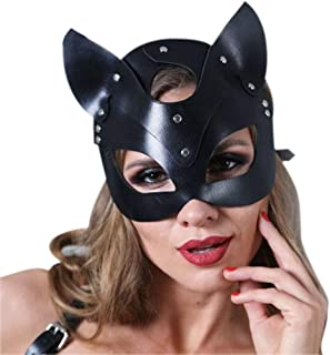 Y Leather Cat Mask for Women BDSM Fetish Cat Black Eye Mask Halloween Carnival Party Mask Cosplay Face Mask Must Have Toys Gift Tags Girls Favourite Characters Superhero Party Supplies