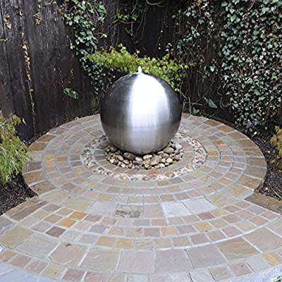 Small Solar Powered Water Feature 28cm Brushed Stainless Steel Sphere Fountain with LED Lights PC230