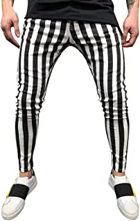 RAINED-Men's Retro Black White Striped Pants Stretch Skinny Pants Active Jogger Pants Casual Slim Fit Pants