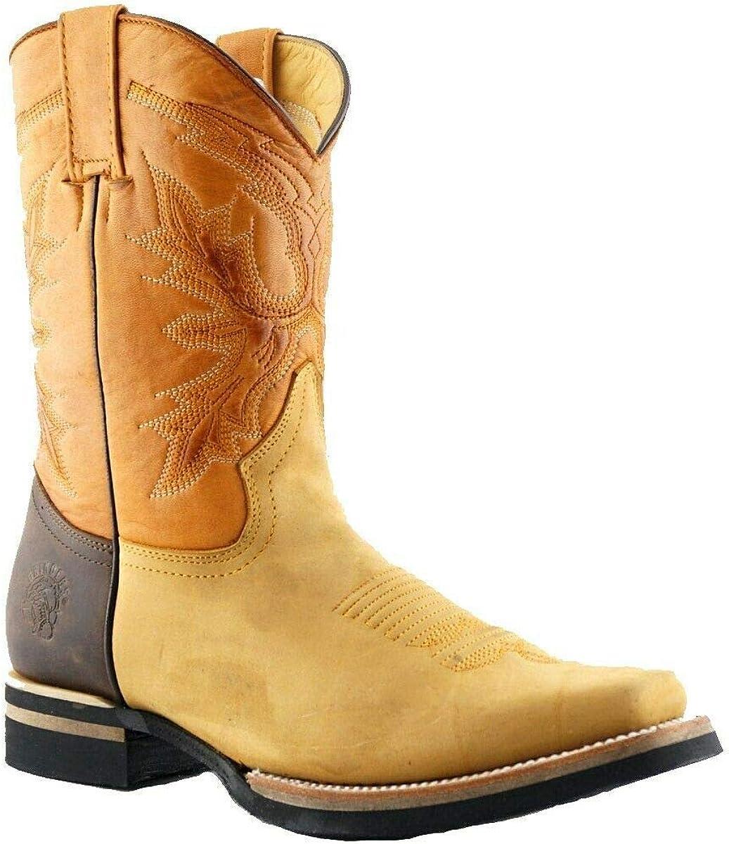 Grinders Unisex El Paso Tan Brown Leather Slip On Mid Calf Cowboy Western Boots