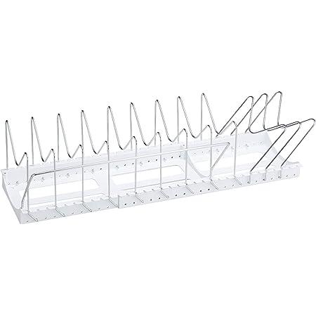 Belca キッチン収納 フライパン・鍋・ふたスタンド 2WAY ワイド伸縮タイプ 幅45.2~87.2×奥行26.2×高さ17.4cm ホワイト PFN-NL
