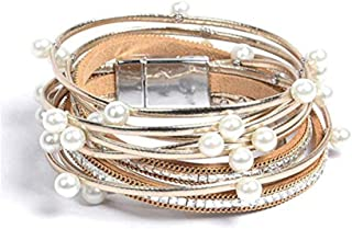 Leather Wrap Bracelet for Women – Handmade Clasp Bangle Bracelet with Pearl Beads..