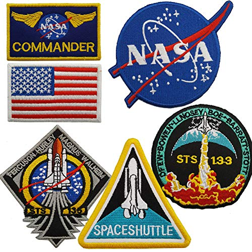 Lightbird NASA Space Patches 6 Pieces, Embroidered Iron On/Sew On Space Patches,US Flag Patch (Iron on/Heat Transfer Backing)