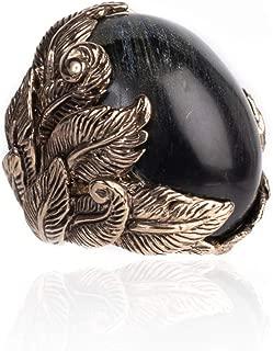 Roberto Cavalli Women's Brass Black Stone Floral Ring RTL$420 NWT