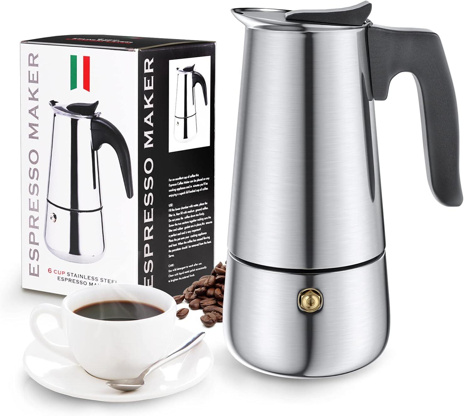 Cafetera Italiana, Diealles Shine Cafetera Italiana 6 Tazas, Conveniente para La Cocina de Inducción, Cafetera Moka Clásica, Acero Inoxidable, 300 ML