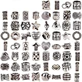 RUBYCA Tibetan Silver Tone Color Spacer Loose Beads Fit European Charm Bracelet Mix 60 Pcs Lot for DIY