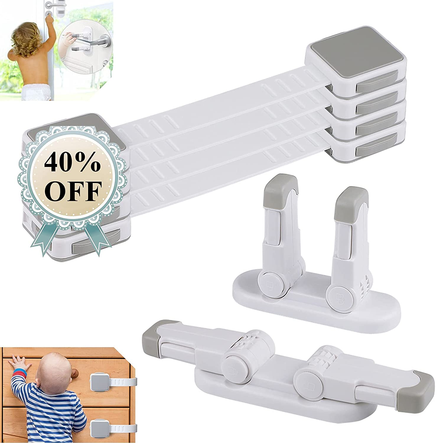 Baby Locks-Child Max 49% OFF Safety Strap Locks Door Pack 4 sold out for Kids