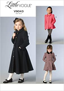 Vogue Patterns V9043 Children's/Girls' Jacket and Coat Sewing Template, Size CL (6-7-8)