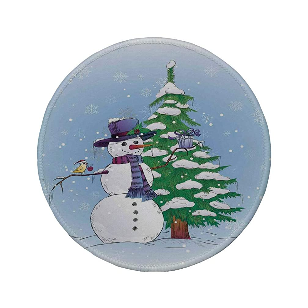 Non-Slip Rubber Round Mouse Pad,Christmas Decorations,Snowman in Winter with Mistletoe Gift Top Hat and Scarf Tree and Bird,Blue Green,11.8