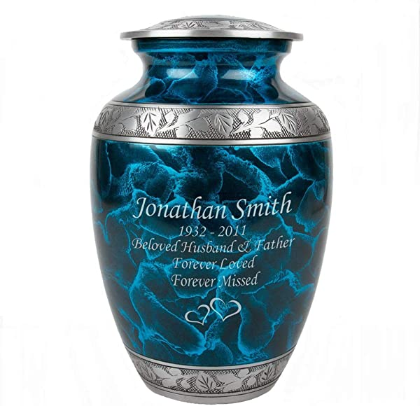 Perfect Memorials Custom Engraved Extra Large Turquoise Dream Cremation Urn