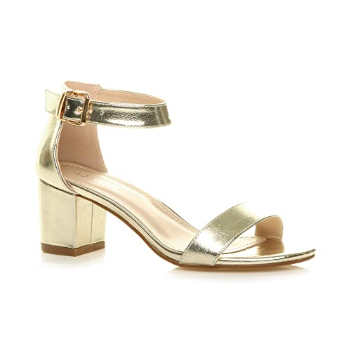 496e5dd611 Ajvani Womens Ladies Low mid Block Heel peep Toe Buckle Ankle Strap Party  Strappy Sandals Shoes