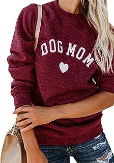 Womens Dog Mom Sweatshirt Casual Long Sleeve Funny Cute Letter Print Graphic Pullover Tops Sweatshirt