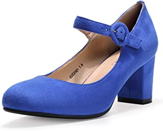 IDIFU Women's Candy Mary Jane Shoes Low Chunky Block Heels Round Toe Office Work Homecoming Pumps
