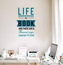 Rawpockets 'Life is a Book Quote ' Wall Sticker (PVC Vinyl, 35 cm x 55cm, Multicolour)