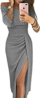 Women's Off Shoulder Long Sleeve Dress Ruched Metallic Knit Party Midi Dress