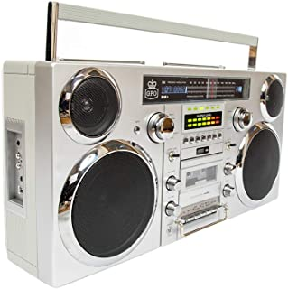 GPO Brooklyn Portable 1980s Retro-Style Music System Boombox with CD, Cassette (Playback and Recording), FM and DAB+ Radio, USB (Playback and Recording) and Bluetooth Receiver - Silver