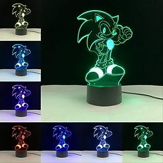 Luz Nocturna 3D Sonic 3D Cartoon Touch Lámpara Remota Base Luz Nocturna Colores Bombilla Sensor Iluminación Hogar Dormitorio Decoración Bebé Niños Presente Lamparas Placa de PMMA sin base D