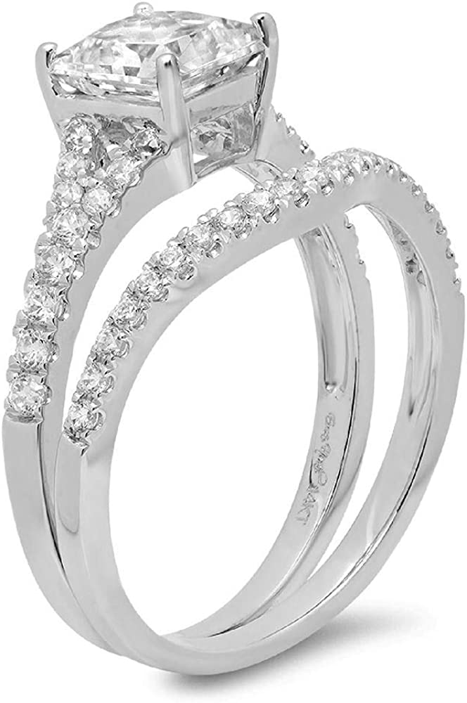 Clara Pucci 1.81 CT Princess Cut CZ Pave Halo Classic Designer Solitaire Ring band set 14k White Gold