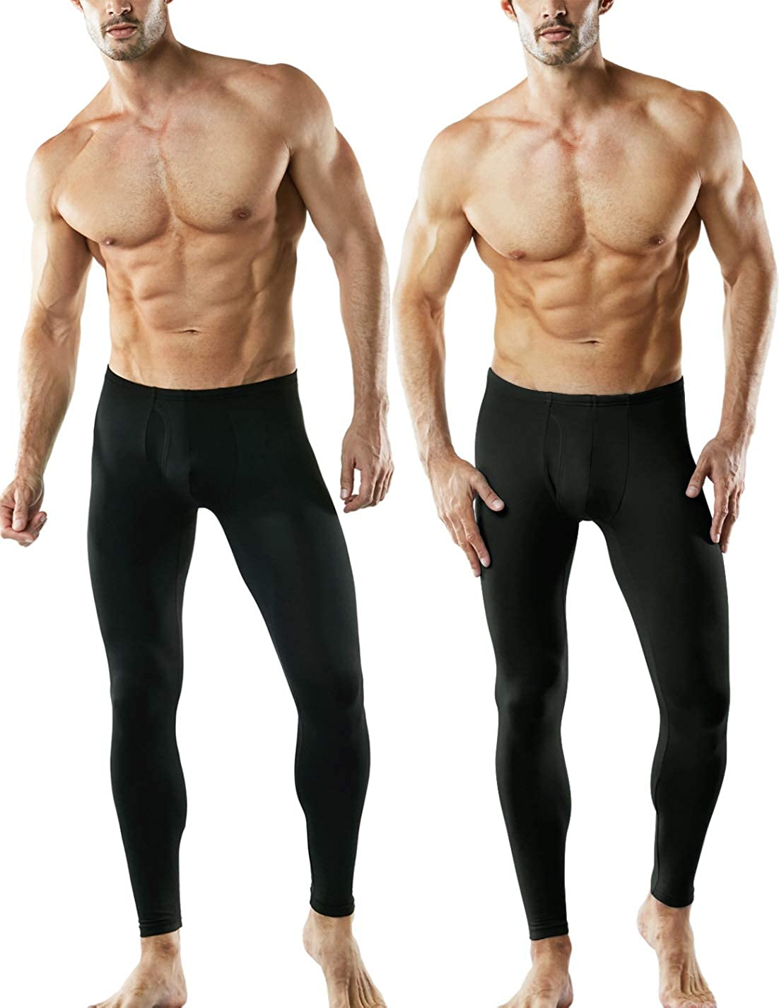 TSLA Mens 2 Pack Thermal Microfiber Fleece Lined Bottom Underwear Long Johns Stretchy with Fly