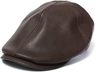 JESPER Mens Women Vintage Leather Beret Cap Peaked Hat Newsboy Sunscreen
