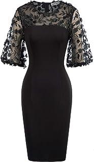 GRACE KARIN Donna Vestito Spalle Trasparente Design Patchwork a Mesh Elegante Manica 1/2