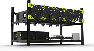 Veddha V3C 6-GPU Mining Case Aluminum Stackable Mining Rig Open Air Frame Case with Fan Mount - Ethereum(ETH,ETC)/ZCash(ZE...
